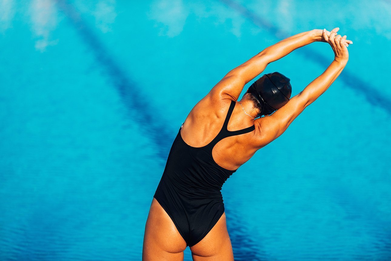 lady swimmer warming up